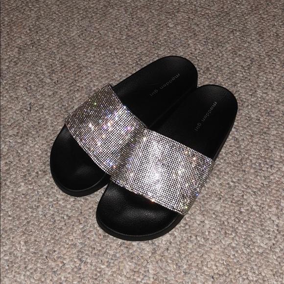 Madden Girl Rhinestone Slides Size 9